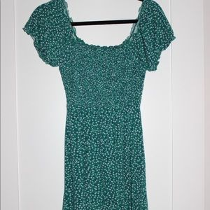 Mini teal floral dress